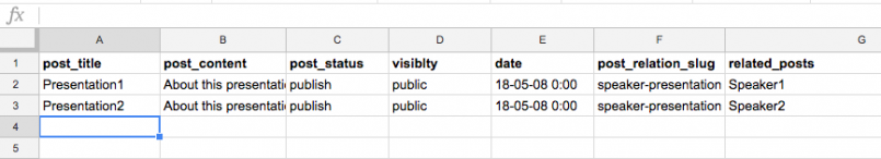 One-to-one relationships – CSV file