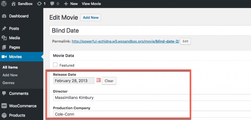 Single movie post with fields after importing