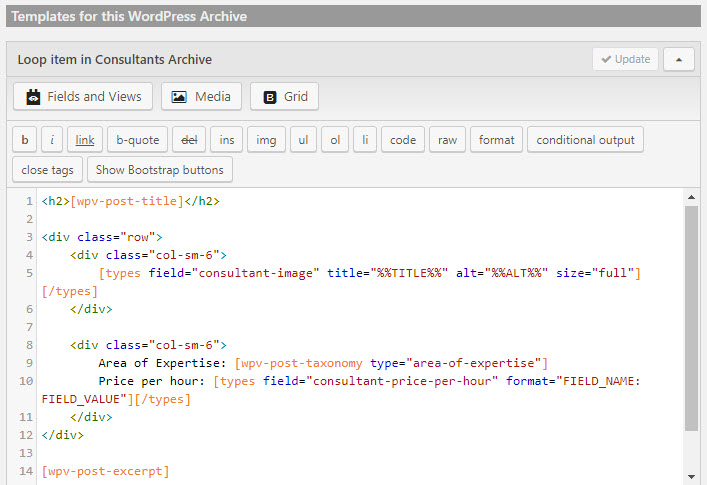 Archive's template editor with some custom HTML markup