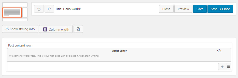 Content Layout Editor with the existing post contents automatically added