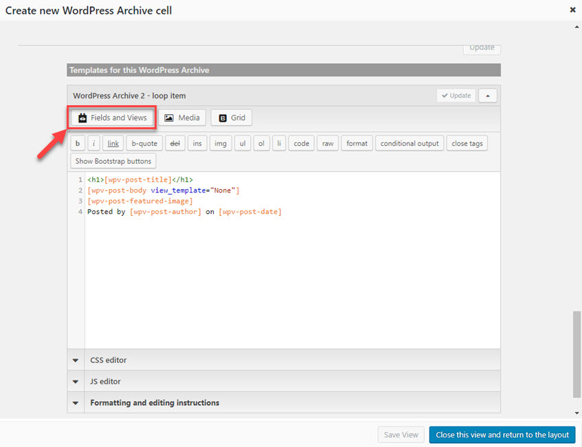 Template editor where you design how the archive lists posts
