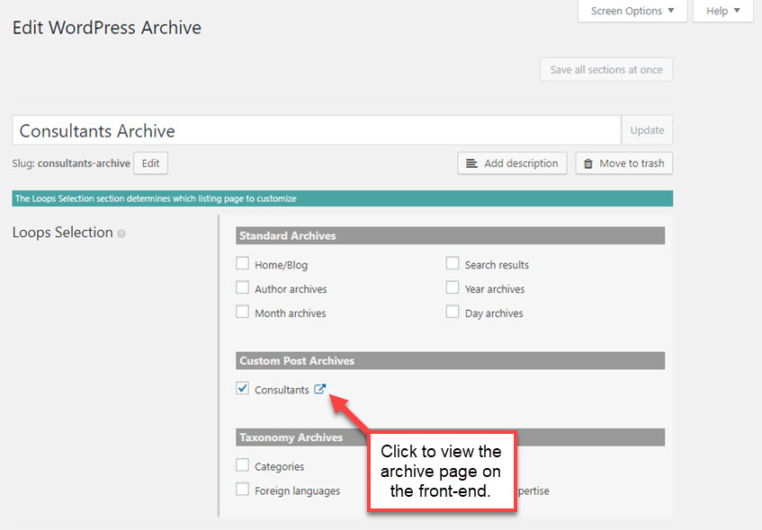Link to view the archive on the front-end