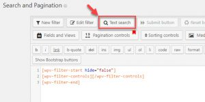 "Text search button in the ""Search and Pagination"" section on the Views editing page"