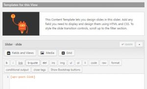 Creating sliders - Content template