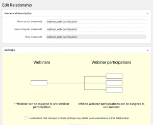 Fig 5. One-to-many relationship between Webinars and Webinar participations