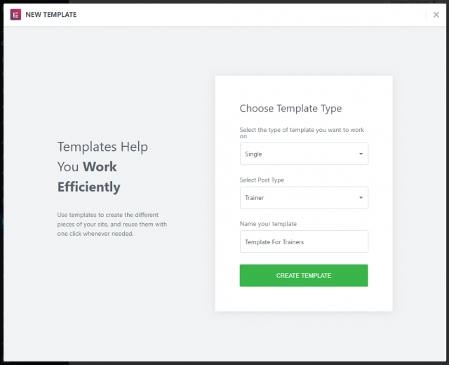 Dialog for creating an Elementor template
