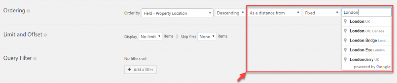 Ordering View by a distance from a fixed location