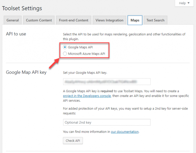 Maps API key settings