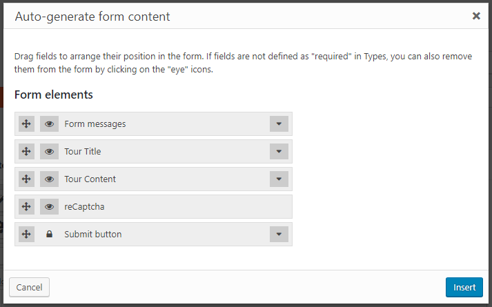 Selecting form fields to autogenerate