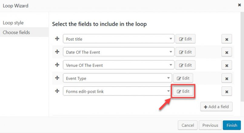 Editing the options for the selected post-edit link
