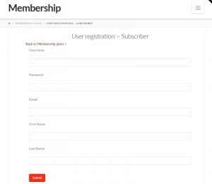 Form for registering users