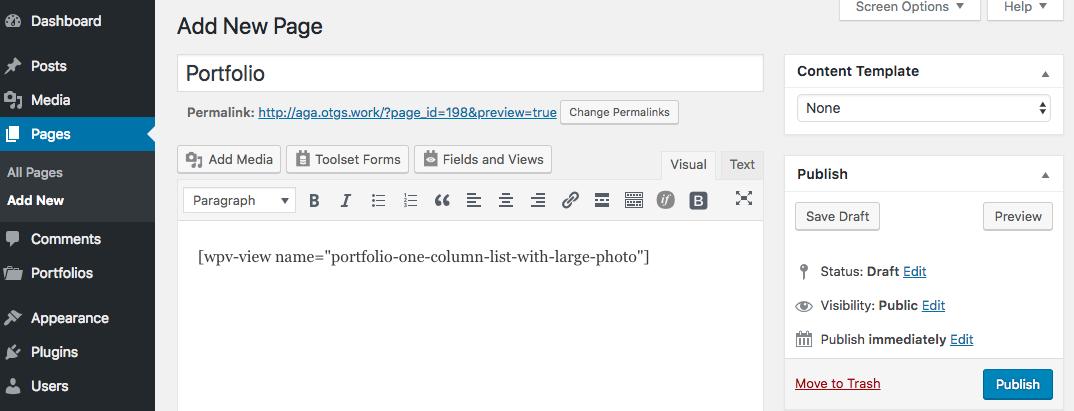 Portfolio - one column list with large photo View