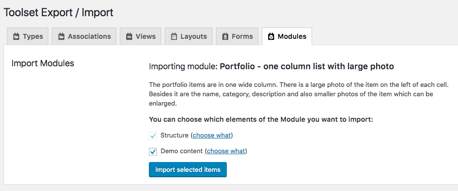You can now import demo content to see exactly how your module will look on your website