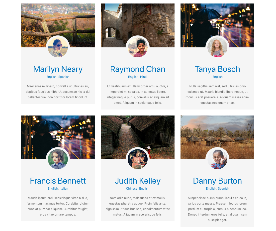 Members – three column grid with multiple photos