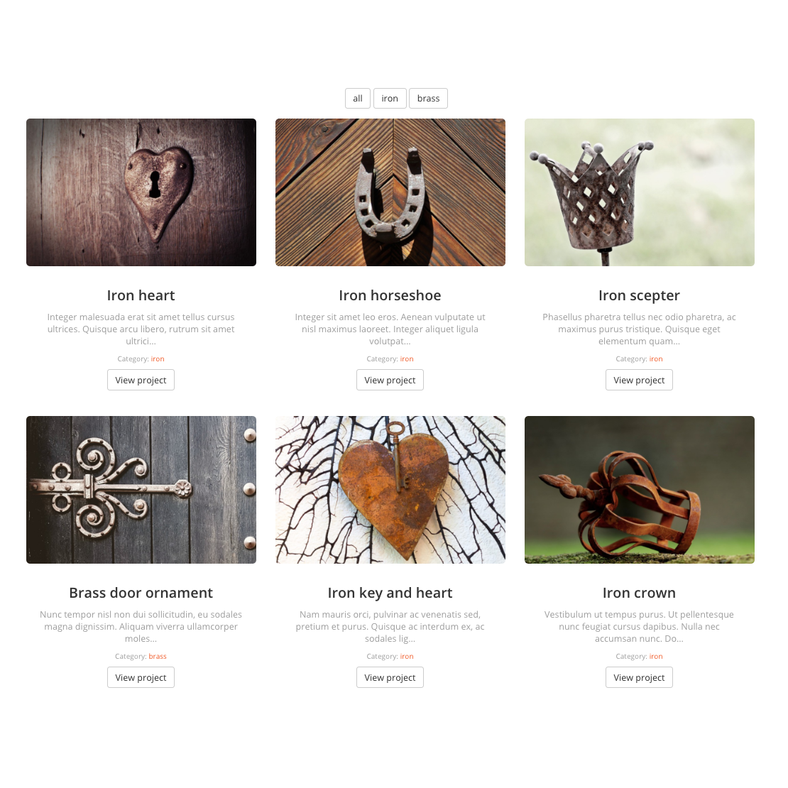 Portfolio – three column grid with category filters