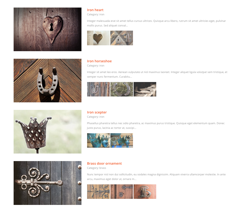 Portfolio – one column list with large photo