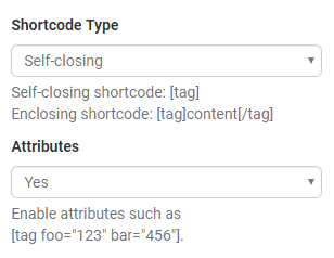 Defining shortcode type and attributes