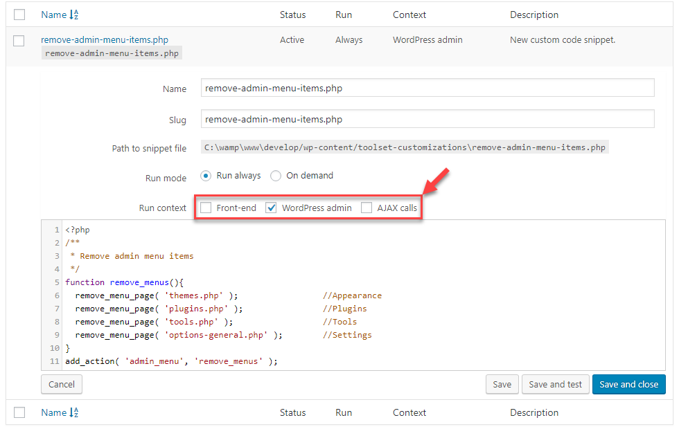 Making the code snippet run only in the WordPress admin