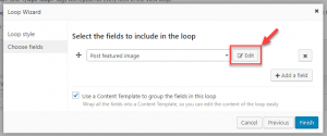 Editing post field options in the Loop Wizard