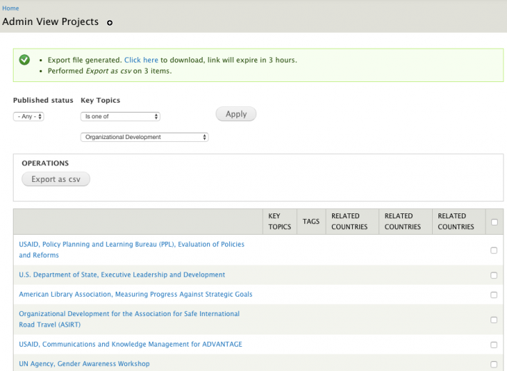 Drupal Views and contrib modules like VBO (Views Bulk Operations) can create customized backend admin tools