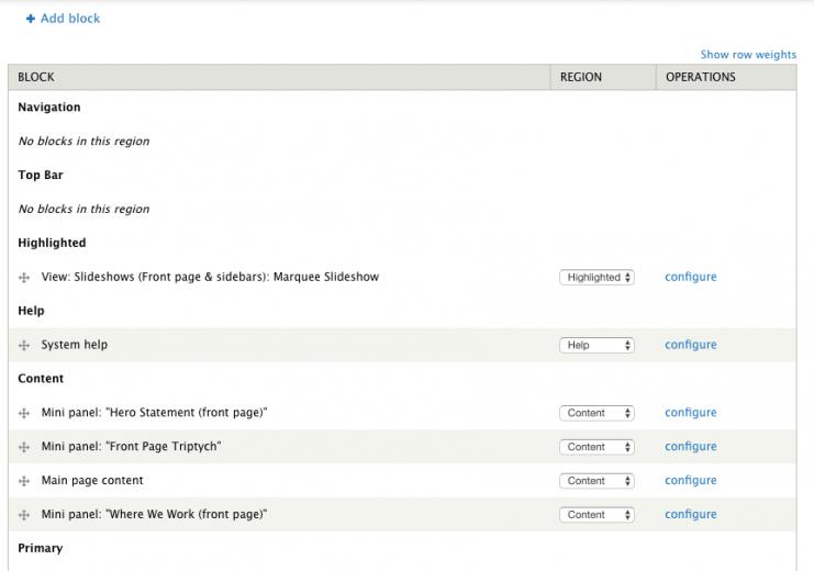"In Drupal, assigning blocks to regions is like assigning ""widgets"" to ""widget areas"", in WordPres"