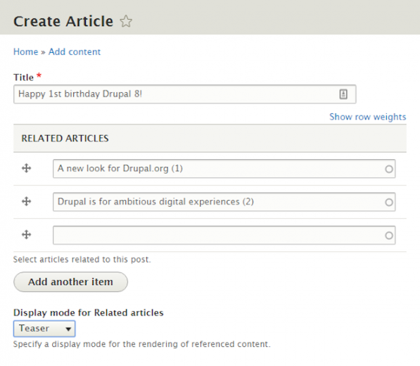 Drupal's many-to-many relationships being used, in this instance, to manually create relationships between content