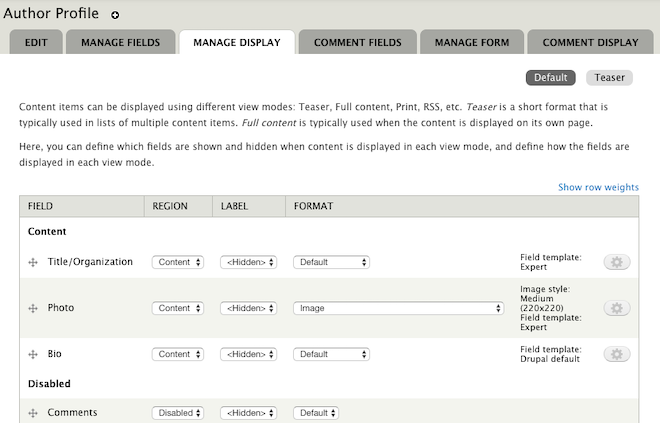 "a typical ""Staff Profile"" custom Content Type being managed in Display Suite"
