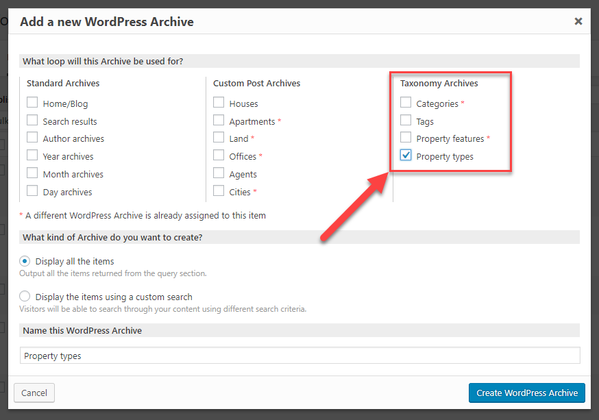 Add a new WordPress Archive