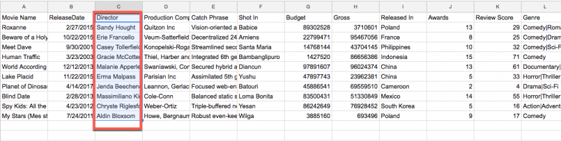 CSV file. The Director column connects Movie and Directors tables