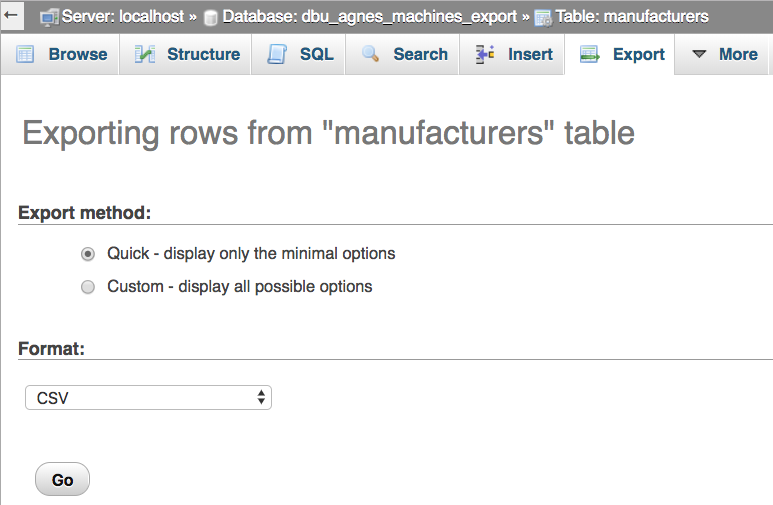 Exporting custom tables into CSV files