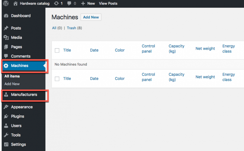 Machines and Manufacturers Custom Post Types in WordPress