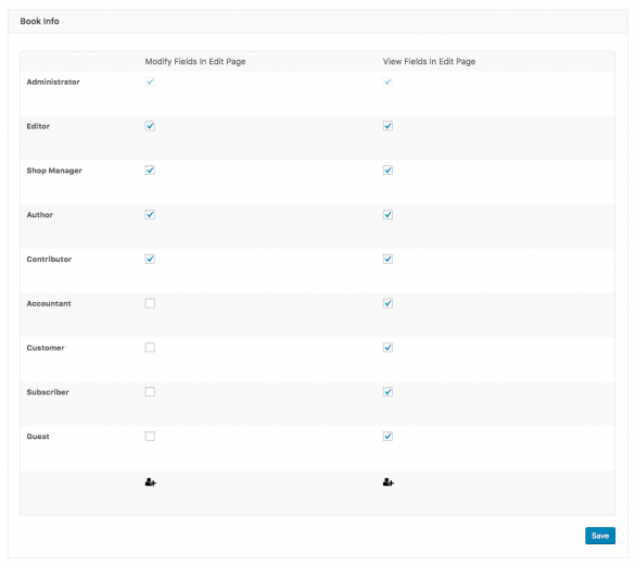 A refreshingly simplified permissions matrix provided by Toolset Access