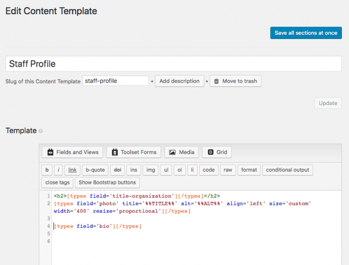 Content Template in Toolset