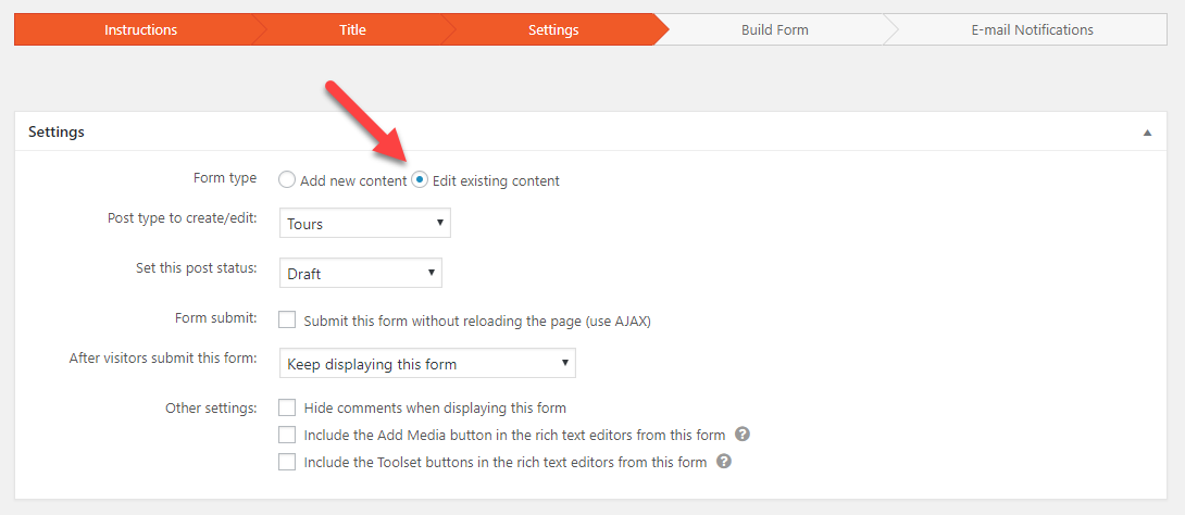 building forms for editing content and users toolset