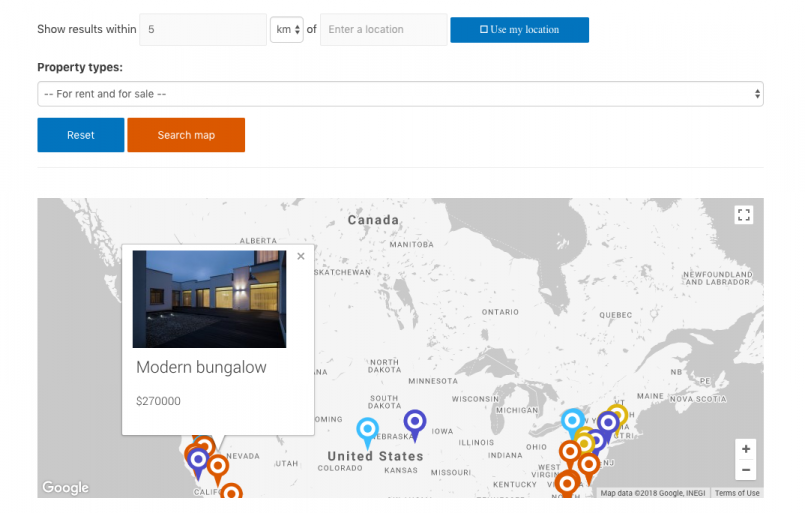 The real estate demo site demonstrates how to build an interactive map using Google Maps and Toolset