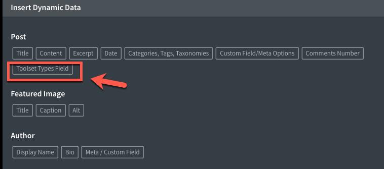 Choose Toolset Types Fields