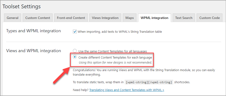 Enabling the Create different Content Templates for each language option