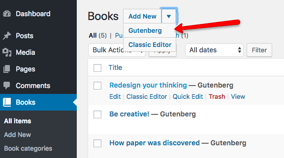 Opening posts based on a Custom Post Type in Gutenberg