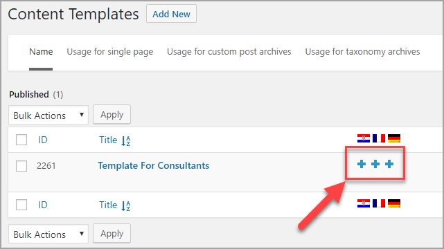 Setting a language for translation of content template