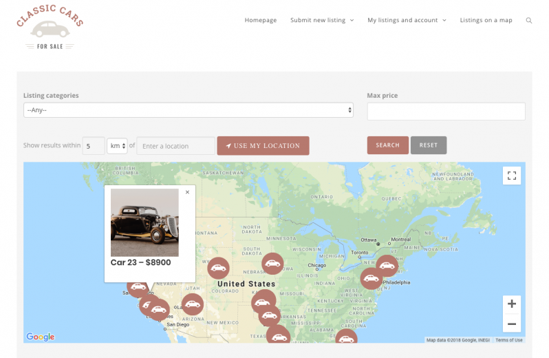 New in the Classifieds site: show listings on a map and filter by the advertiser location