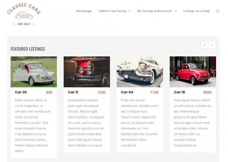 The new version of the Classifieds site