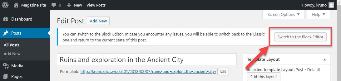 Switch to Block Editor