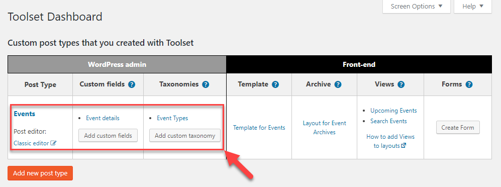Toolset Dashboard after creating a custom post type, custom fields, and taxonomy