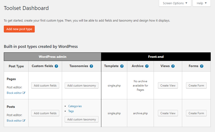 Toolset Dashboard before adding any custom types