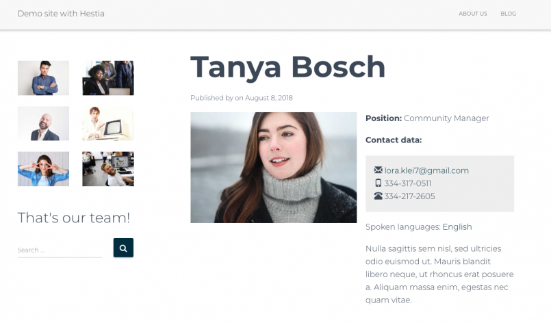 Single-member page