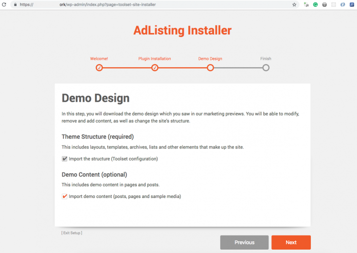 The Toolset installer provides the user with the demo content as an option.