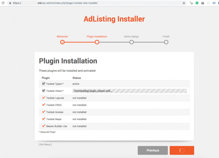 When you install the AdListing theme, it will automatically install all required plugins.