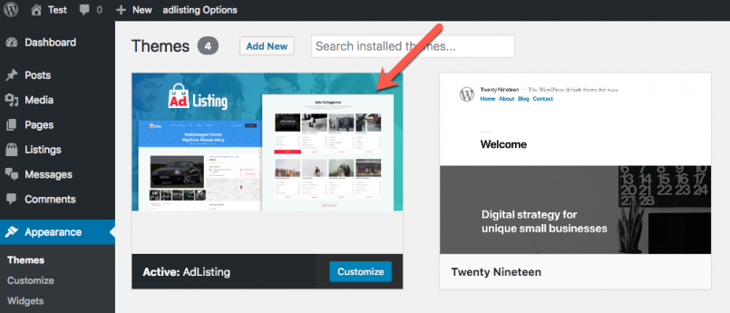 AdListing, the Toolset-based theme is installed like any other WordPress theme