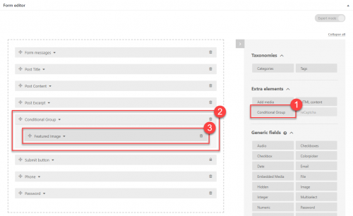 Toolset Form - Define the Part Of the Form You Want To Display Conditionally