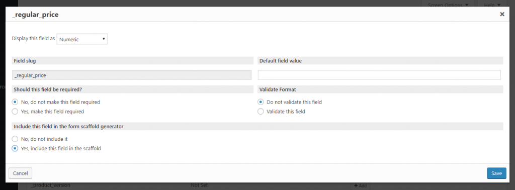 Making the regular price field available in a Toolset form